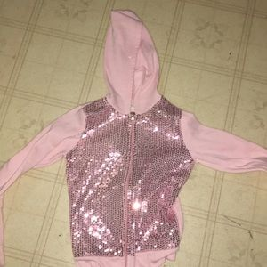 Sparkly pink zip up kids jacket